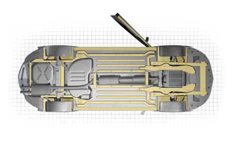 Dinitrol PLUS Rostskyddsbehandling Steg 4: Underredsbalkar, tröskellådor och hjulupphängning behandlas med en tunn hålrumsprodukt. Slutligen behandlas ytorna i hjulhusen som inte är täckta av innerskärmar.
