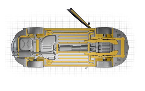 Dinitrol TKD Tuff Kote Dinol Rostskyddsbehandling Steg 4: Underredsbalkar, tröskellådor och hjulupphängning behandlas med en tunn hålrumsprodukt.